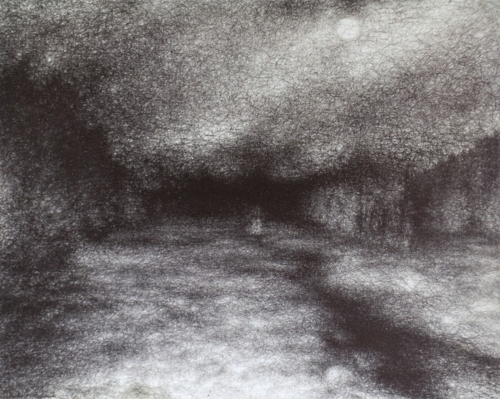 "Winter Light, 2010, Ballpoint on canvas 16""x20"" Private Collection"