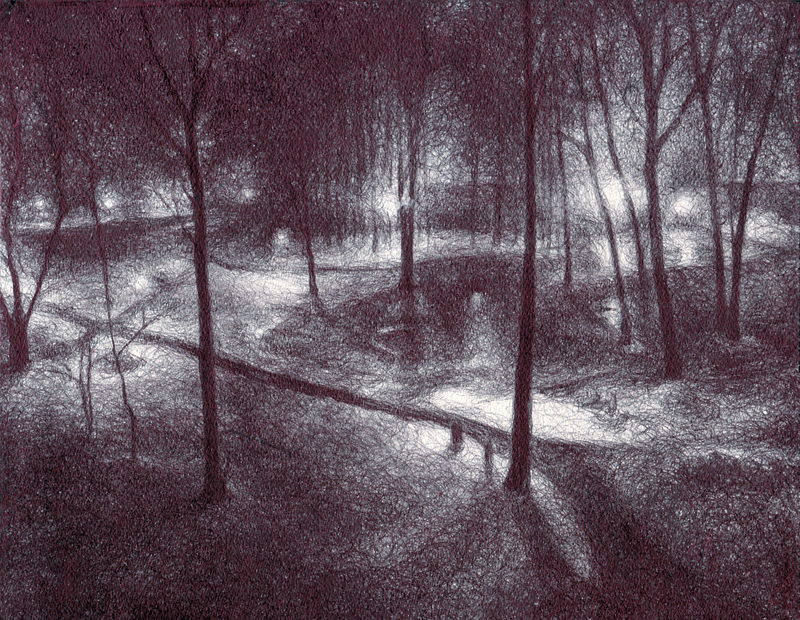 "Lighted Path, 2012,  Ballpoint on paper 8""x10"", Private Collection Prints available at the <a href=""http://theartofcolleenblackard.bigcartel.com/product/lighted-path"">online store</a>"