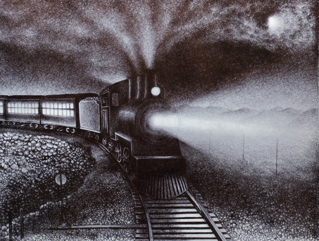"Two Trains at Night, 2013, Ballpoint on drafting film and paper 16""x20"", Private Collection. Prints available at the <a href=""http://theartofcolleenblackard.bigcartel.com/product/two-trains-at-night"">online store</a>"