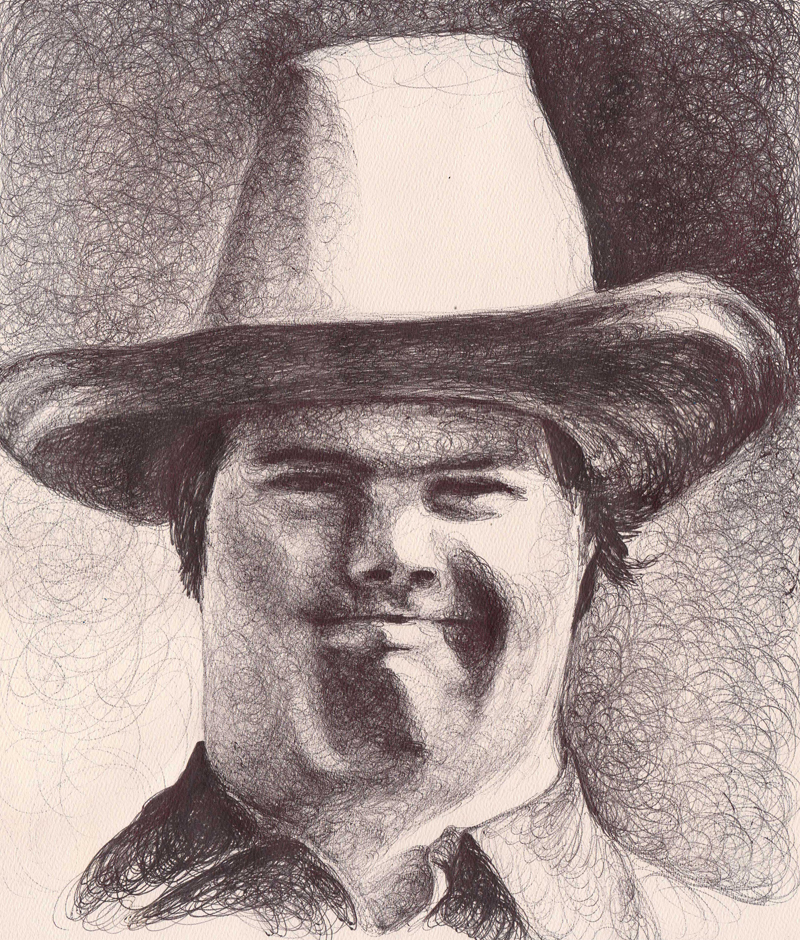 "William (Close-up), 2011,  Ballpoint on paper 12""x9"", For inquiries, contact <a href=""http://flatfiles.pierogi2000.com/artist/colleen-blackard/"">PIEROGI</a>"