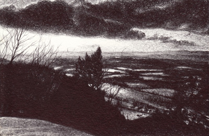 "Snowy Oxbow, 2015, Ballpoint on paper 4""x6"" Available"