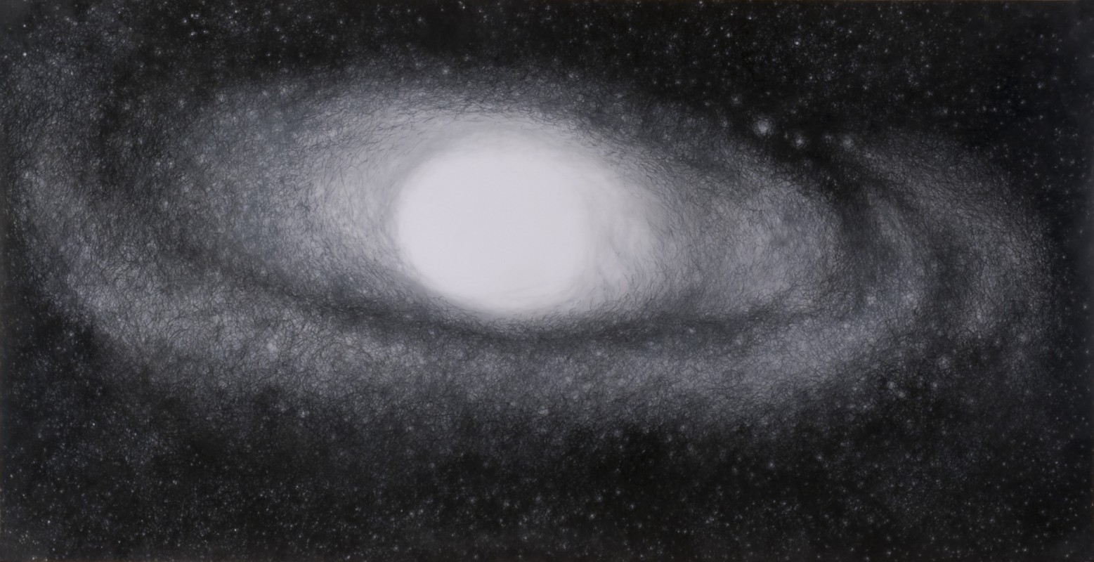 "Andromeda Galaxy, 2009, Archival ballpoint on drafting film and paper 14""x27"""