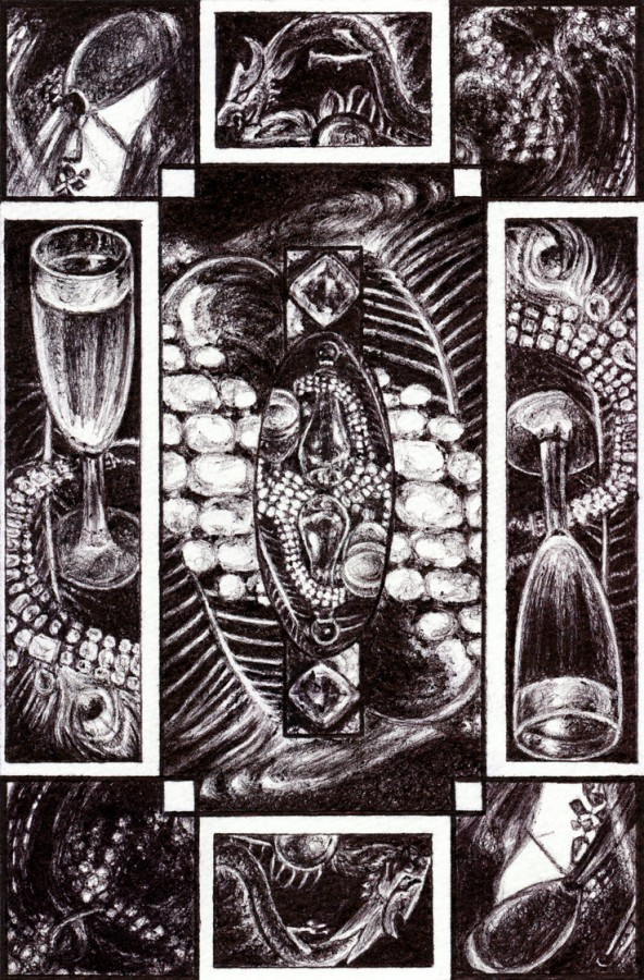"Decadence, Card back design for a collaborative card deck, 2015 Ballpoint on paper 4""x6"""