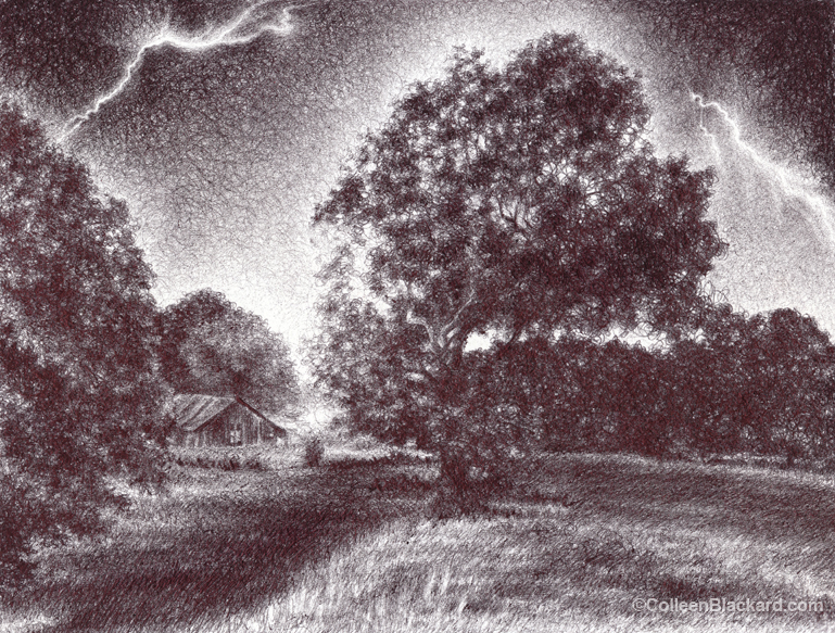 "Caught in a Flash, 2013,  Ballpoint on paper 8""x10"", Private Collection. Prints available at the <a href=""http://theartofcolleenblackard.bigcartel.com/product/caught-in-a-flash"">online store</a>"