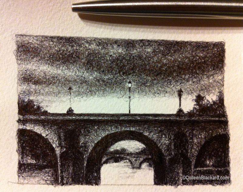 "La Seine, 2013, Ballpoint on paper 2.5""x3.5"" Private Collection."