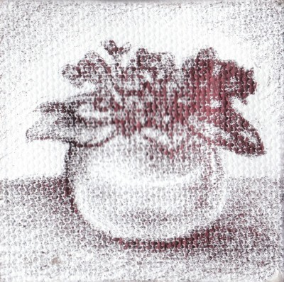 "African Violet, 2012, ballpoint on canvas, 2.5""x2.5"""