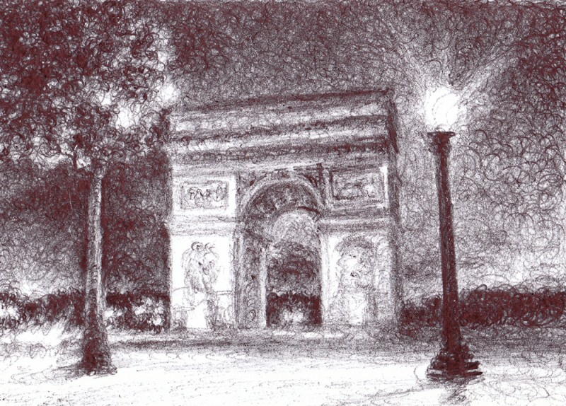 "Arc de Triomphe, 2013, Ballpoint on paper 2.5""x3.5"" Private Collection."