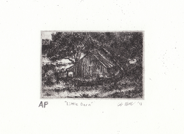 "Farmhouse Etching, 2013,  Etching 1.5""x2.5"""