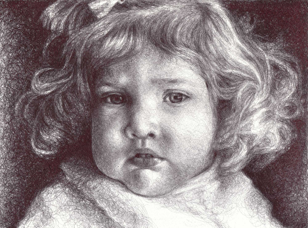 "Little Sister, 2012, Ballpoint on paper, 8""x10"""