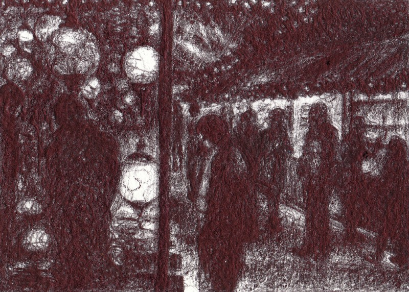 "Captivating Lights, 2013, Ballpoint on paper 2.5""x3.5"" Private Collection."