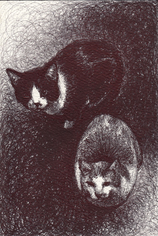 "Loafing, 2015, Ballpoint pen on paper greeting card 4""x3"" Available"