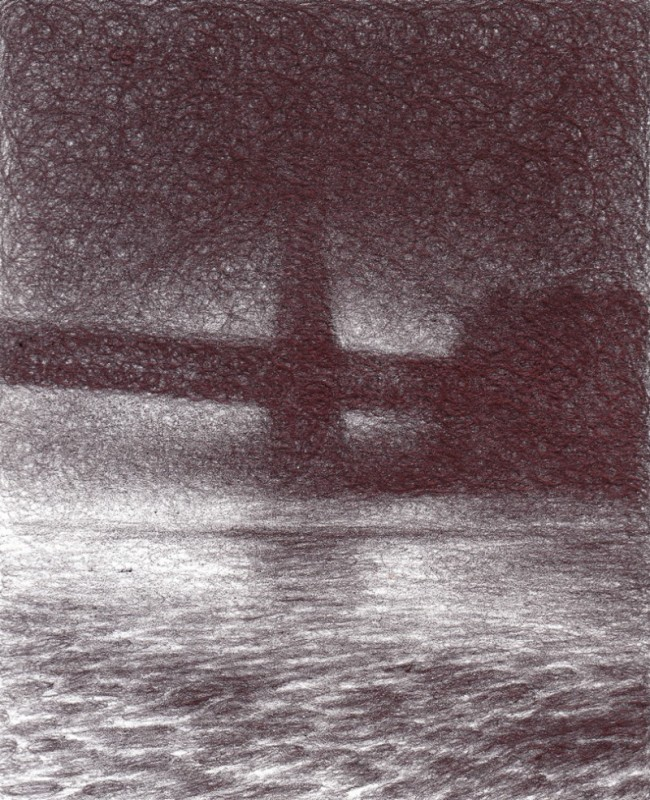 "Clearing Fog, 2013, Ballpoint on paper 5""x4"" Private Collection."