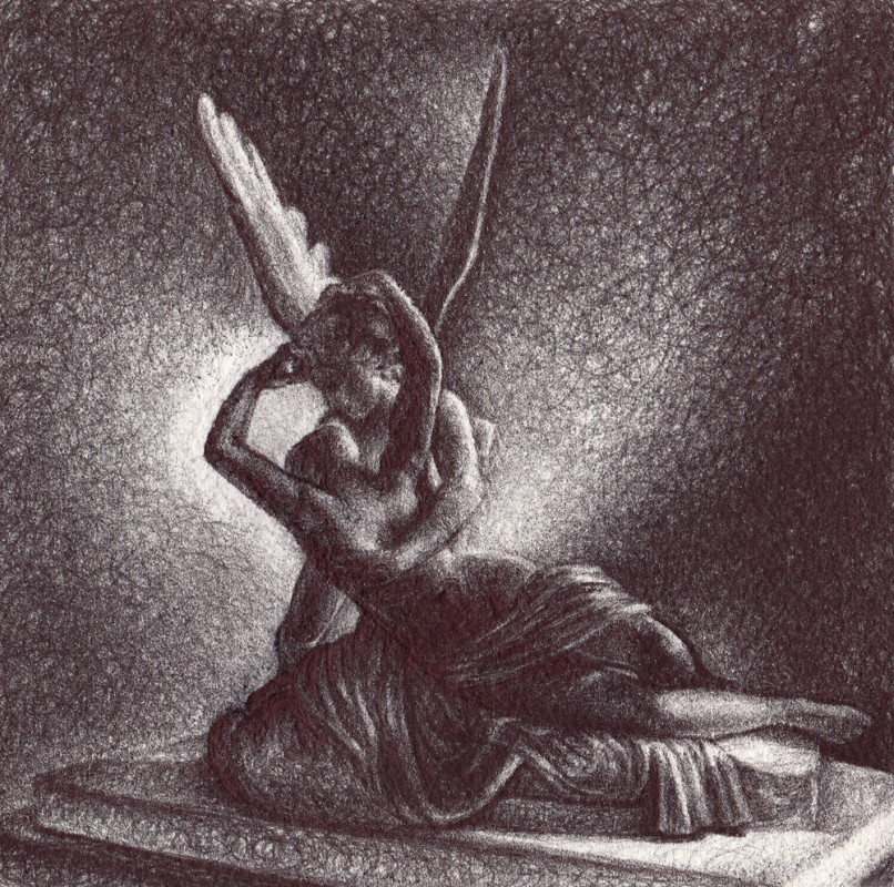 "Cupid and Psyche, 2013,  Ballpoint on paper, 5""x5"" Private Collection. 2013, ballpoint on paper, 5""x5"", Private Collection. Prints available at the <a href=""http://theartofcolleenblackard.bigcartel.com/product/cupid-ans-psyche"">online store</a>"