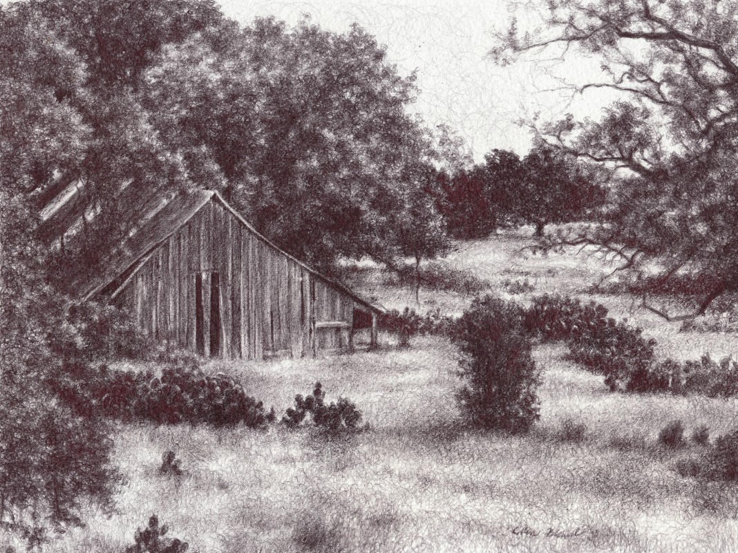 "Farmhouse in Diffused Light, 2013,  Ballpoint on paper 8""x10"", Private Collection"