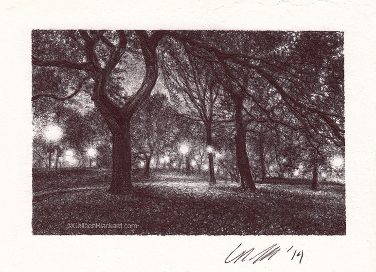 "Eastern Lights, 2014, Ballpoint on paper, 3""x4"" Private Collection"