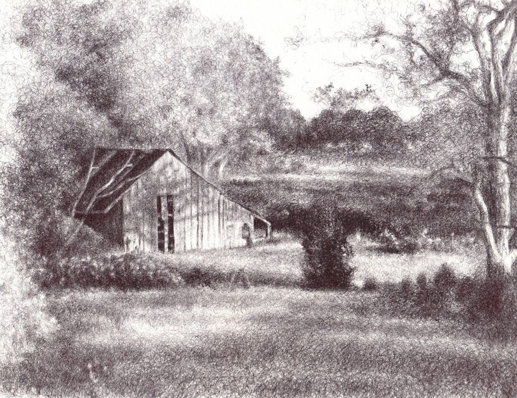 "Farmhouse in the Afternoon Light, 2013,  Ballpoint on paper 8""x10"", Private Collection. Prints available at the <a href=""http://theartofcolleenblackard.bigcartel.com/product/in-the-afternoon-light"">online store</a>"