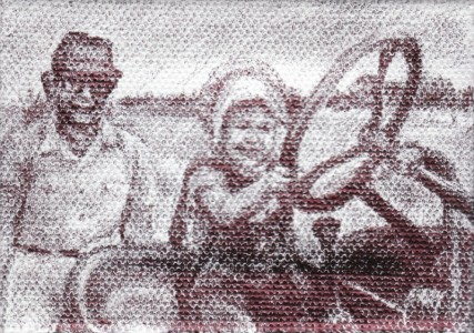 "Grandad with Betsy on the Tractor, 2012, Ballpoint on canvas 2.5""x3.5"""