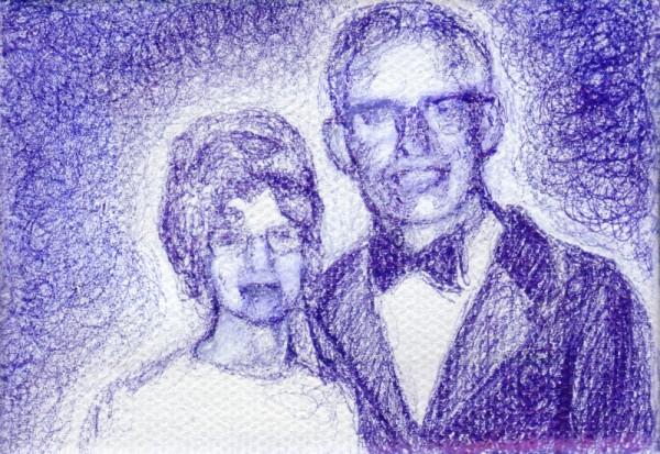 "Grandma and Grandpa, 2012, ballpoint on canvas, 2.5""x3.5"""