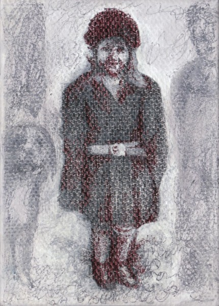 "Grandma as a Child, 2012, ballpoint on canvas, 3.5""x2.5"""