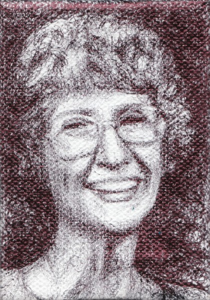 "Grandma As I Remember, 2012, ballpoint on canvas, 3.5""x2.5"""