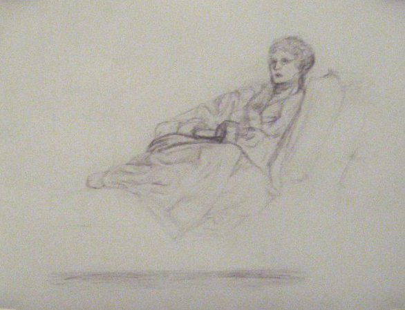 "Sketch of Grandma on the Couch, 2004, Graphite on paper 8.5""x11"""