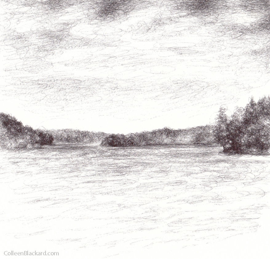 "Horizon, 2010,  Ballpoint on paper 5""x5"""