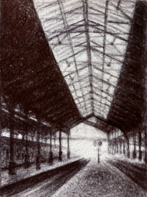 "La Gare, 2013, Ballpoint on paper 2.5""x3.5"" Private Collection."