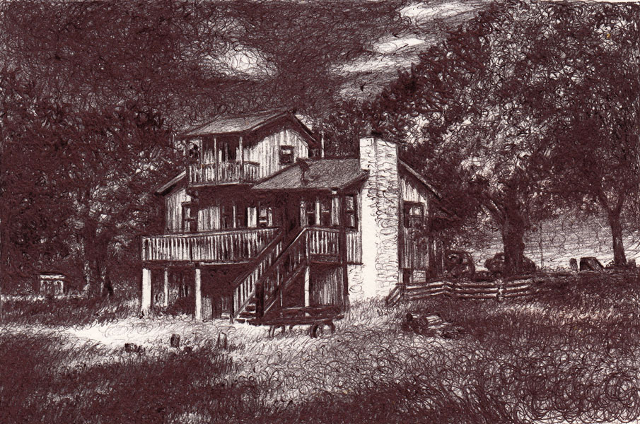 "Lampasas, 2014, Ballpoint on paper, 3.5""x2.5"" Private Collection"