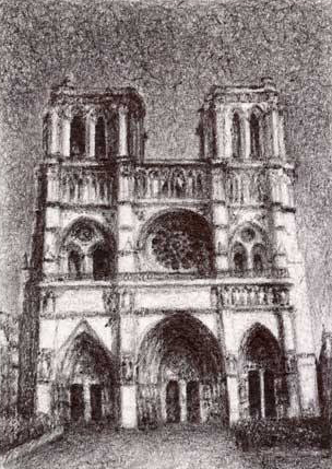 "Notre Dame, 2013, Ballpoint on paper 2.5""x3.5"" Private Collection."