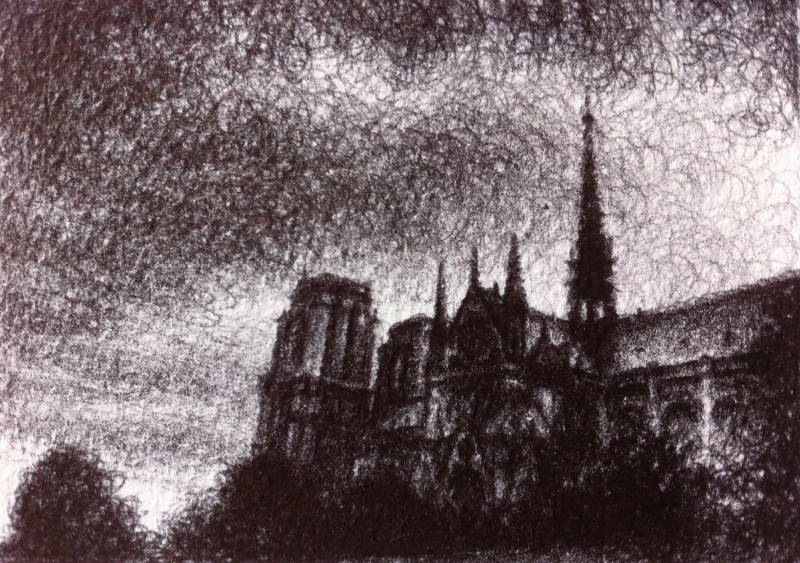 "November Light (at Notre Dame), 2013, Ballpoint on paper 2.5""x3.5"" Private Collection."
