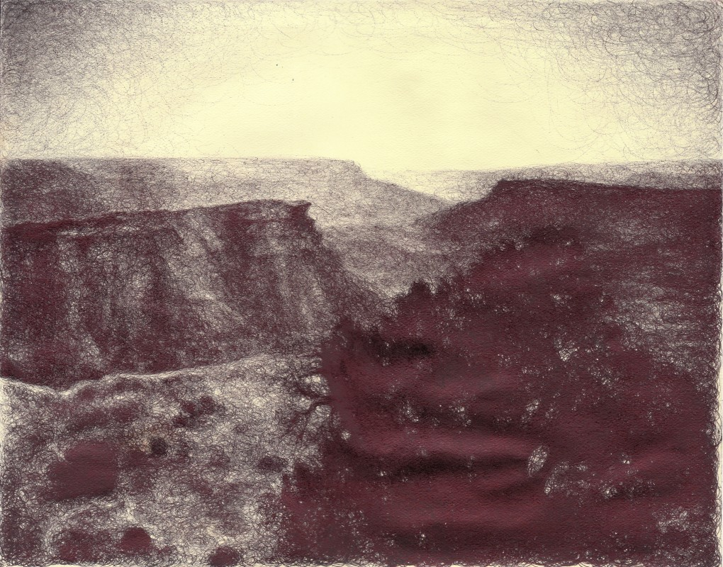 "Palo Duro Canyon, 2011, Ballpoint on paper 9""x12"", Private Collection"