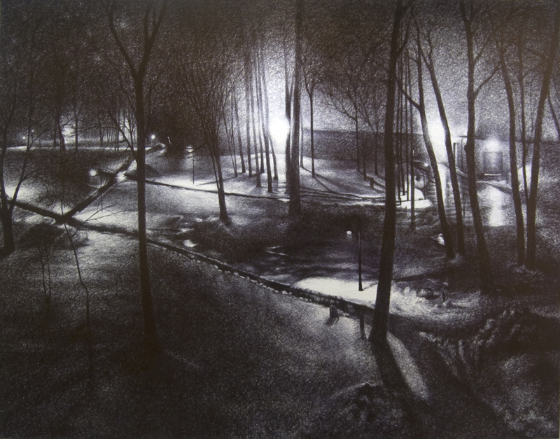 "Paths of Memory, 2012,  Ballpoint on gessoed wood overlaid with drafting film 33""x42"""