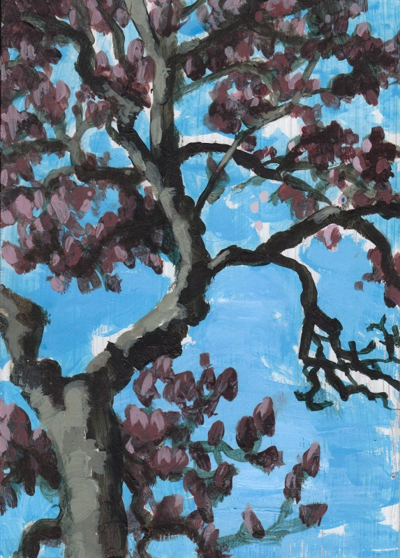 "Magnolia, 2011, Acrylic on panel 7""x5"" Private Collection"