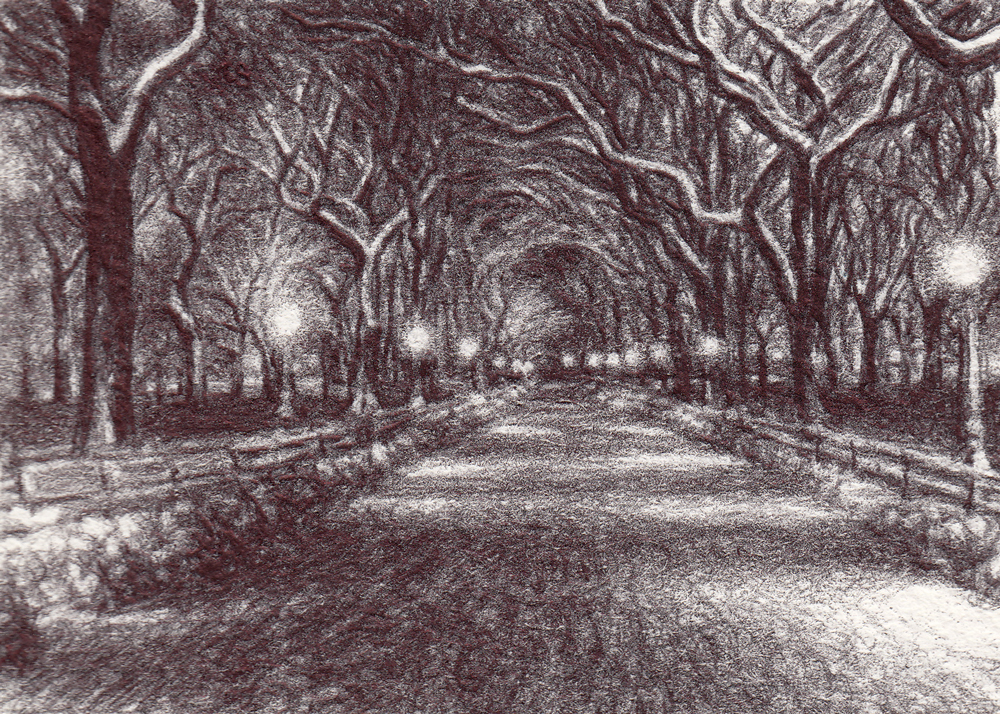 "Ploughed Ahead, 2014, Ballpoint on paper 2.5""x3.5"" Private Collection."