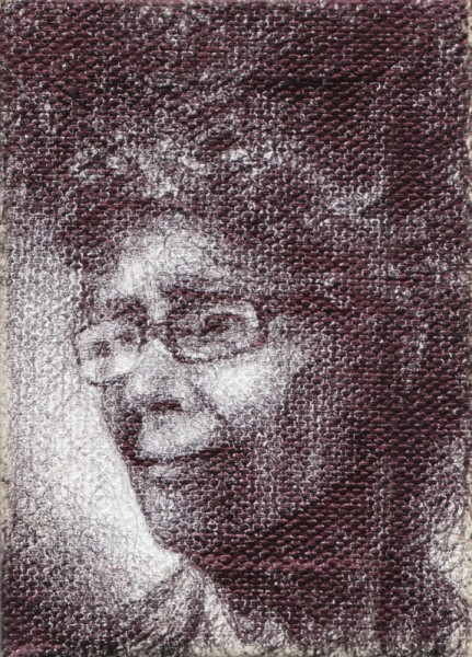 "Remembered, 2012, ballpoint on canvas, 3.5""x2.5"""