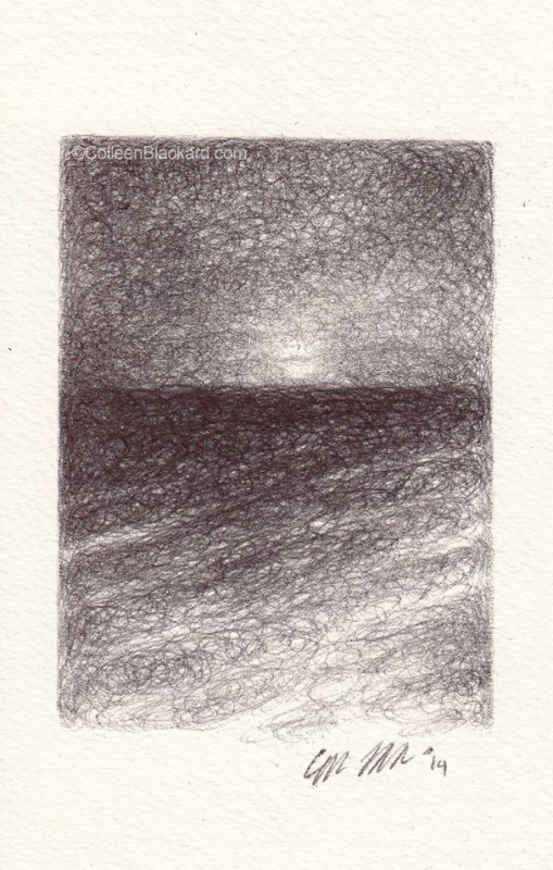 "Rising Dawn, 2014, Ballpoint on paper, 3.5""x2.5"" Available"