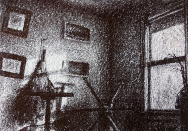 "Room, 2013, Ballpoint on paper 2.5""x3.5"" Private Collection."