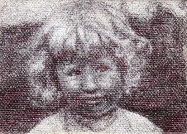 "Ruthie, 2012, ballpoint on canvas, 2.5""x3.5"""