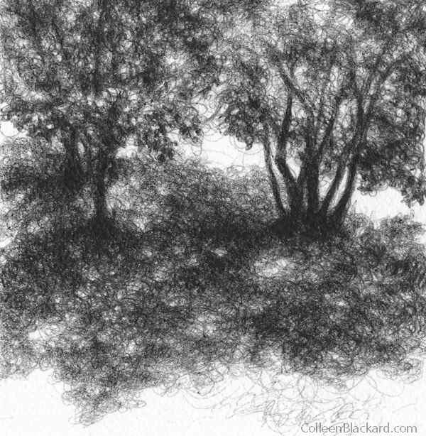 "Shadows, 2010,  Ballpoint on paper 4""x4"", Private Collection"