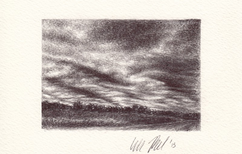 "Texas Cold Front, 2013, Ballpoint on paper, 2.5""x3.5"" Available"