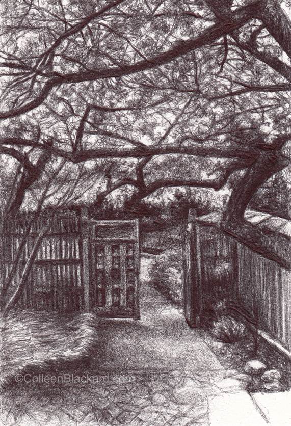 "The Gate Opened, 2014, Ballpoint on paper, 5""x3"" Private Collection."
