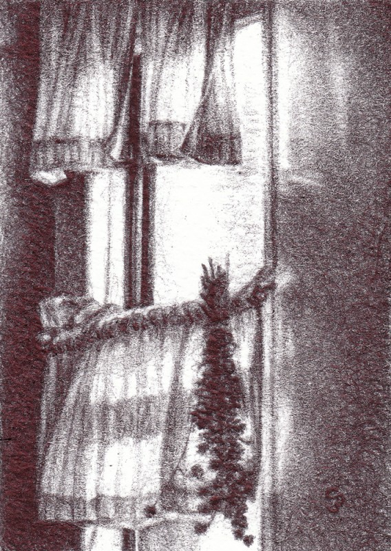 "The Window Has Shut, 2013, Ballpoint on paper 2.5""x3.5"" Private Collection."