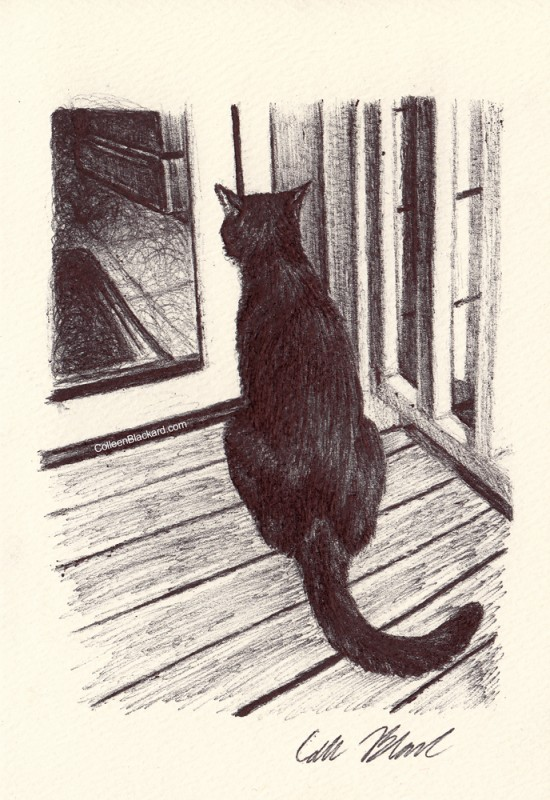 "Through the Glass Door, 2014, Ballpoint pen on paper greeting card 4""x3"" Private Collection. Prints on greeting cards are also available on the <a href=""http://theartofcolleenblackard.bigcartel.com/product/cat-cards-through-the-glass-door"">online store</a>."