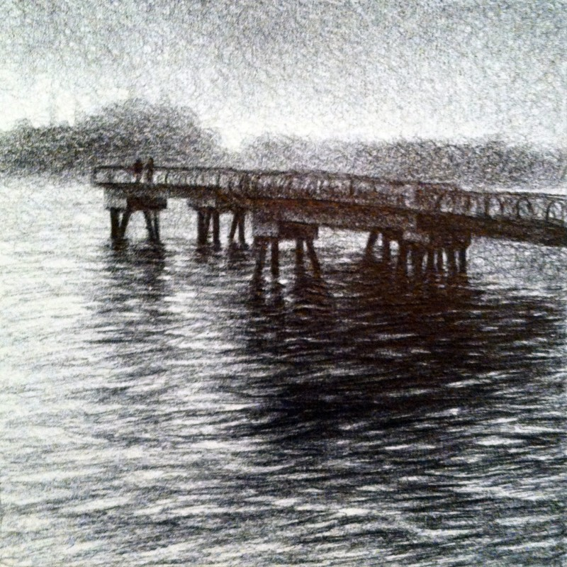 "Walk on the Pier, 2013,  Ballpoint on paper 2.5""x3.5"" Private Collection."