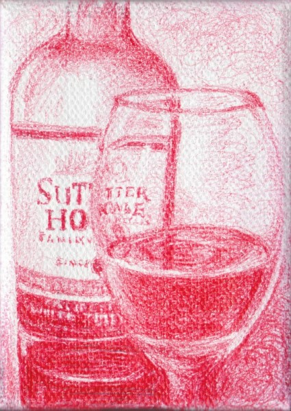 "White Zinfandel, 2012, ballpoint on canvas, 3.5""x2.5"""