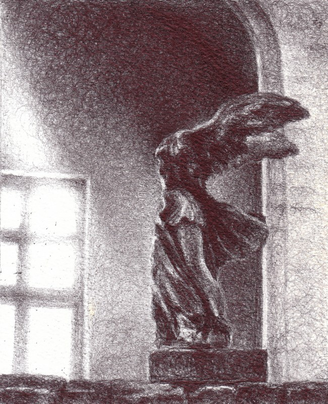 "Winged Victory, 2013, Ballpoint on paper 2.5""x3.5"" Private Collection."