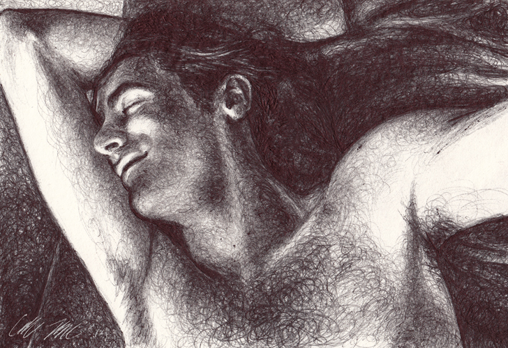 "Apollo Dreams, 2014, Ballpoint on paper,  5""x7"" Private Collection"