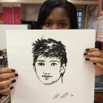 A sketch of one of the stars of One Direction in sharpee.  This student was SO excited about it!