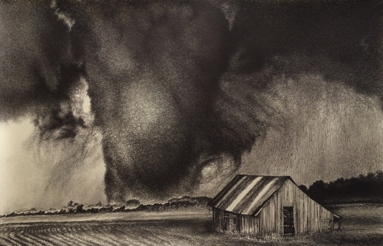 "Fate, 2014, Archival marker on paper, 4ft x 6ft,  Available. See its creation <a href=""http://colleenblackard.com/fate/"">here.</a>    <i>Tornado image reference: ""The Shawnee Oklahoma EF4 at Peak Strength"" by Brett Wright, <a href=""www.TornadoTitans.com"">www.TornadoTitans.com</a></i>"