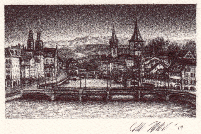 "Little Zurich, 2014, Ballpoint pen on paper 2.5""x3.5"" Private Collection."